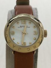 クォーツ腕時計/アナログ/レザー/WHT/BRW/MBM1285