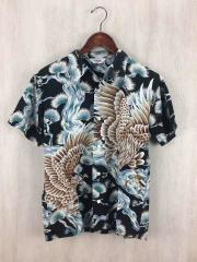 S/S Oriental pattern Hawaiian shirt/アロハシャツ/M/コットン/BLK