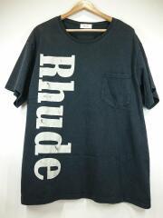 ポケットTシャツ/M/コットン/ブラック/ロゴプリント