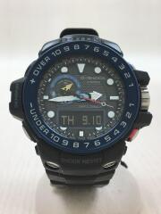 ソーラー腕時計/デジアナ/ラバー/BLK/BLK
