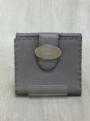 2つ折り財布/レザー/GRY/無地