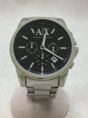 クォーツ腕時計/クロノグラフ/アナログ/ステンレス/BLK/SLV/AX2084