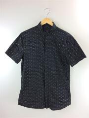 半袖シャツ/M/コットン/BLK/ドット/比翼