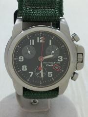 Khaki/クォーツ腕時計/アナログ/BLK/KHK/6313/キズあり