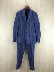 セットアップ2Bスーツ/S/リネン/BLU/ストライプ