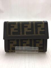 3つ折り財布/キャンバス/BRW/総柄/ズッカ柄