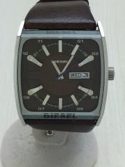 腕時計/アナログ/レザー/SLV/BRW