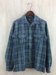 エルボーパッチネルシャツ/オープンカラーシャツ/S/グリーン/チェック/開襟