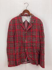 Size:40/RED/テーラードジャケット/リネン/チェック