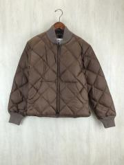 DIAGONAL QUILT DOWN SWEATER/S/ナイロン/BRW