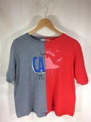 Tシャツ/FREE/コットン/GRY/17SS/リメイクバイカラープリントTシャツ