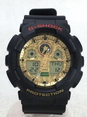 クォーツ腕時計/--/ラバー/GLD/BLK