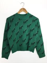 セーター(厚手)/XS/ウール/GRN/PRINT COLLARLESS SWEATER