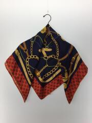 スカーフ/シルク/BLU/総柄/ユニセックス