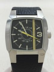 クォーツ腕時計/アナログ/レザー/BLK/DZ-1089