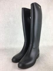ロングレインブーツ/長靴/防水/M/ブラック/黒/サイドファスナー仕様