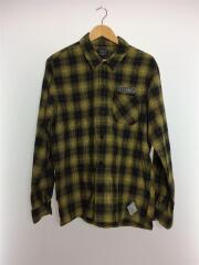 長袖シャツ/XL/コットン/YLW/チェック