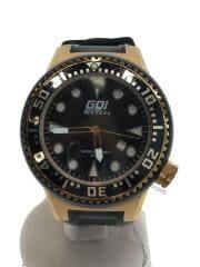 クォーツ腕時計/アナログ/ラバー/BLK/GQ-111