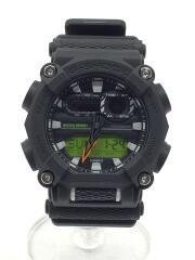 クォーツ腕時計/デジアナ/ラバー/BLK/カシオ