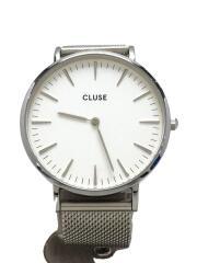 クォーツ腕時計/アナログ/ステンレス/WHT/SLV/3atm