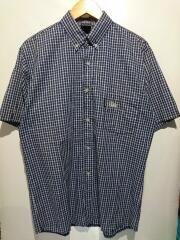 90s/チェックシャツ/OLDSTUSSY/半袖シャツ/L/コットン/ネイビー//襟元ヨゴレ有/紺タグ