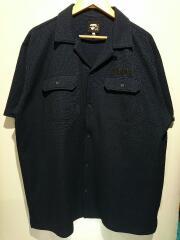 オープンカラーシャツ/半袖シャツ/XL/ポリエステル/ネイビー