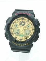 クォーツ腕時計/デジアナ/ラバー/GLD/BLK