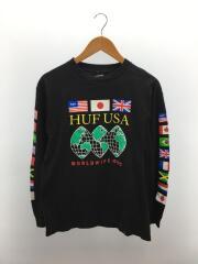 長袖Tシャツ/M/コットン/BLK/ブラック/黒/ハフ/WORLD WIDE