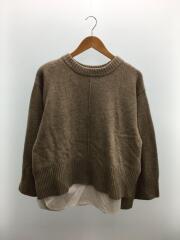 セーター(厚手)/1/ポリエステル/BEG/ベージュ/シャツドッキングデザインニット/ミラオーウェン