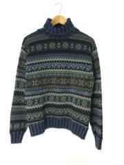 セーター(厚手)/M/コットン/ネイビー/フェアアイルインディゴモックネックセーター/ダブルアールエル