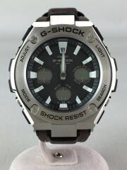 G-STEEL/TOUGH LEATHER/ソーラー腕時計/デジアナ/レザー/GST-S130L-1ADR