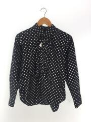 BLACK COMME des GARCONS/フリルシャツ/長袖シャツ/S/コットン/ブラック/ドット/