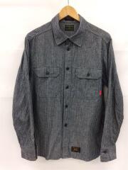 UTILITY L/S/ワークシャツ/長袖シャツ/3/コットン/BLU/ストライプ/132LTDT-SHM01
