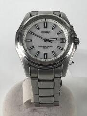 ソーラー腕時計/アナログ/チタン/WHT/SLV