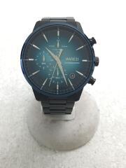 クォーツ腕時計/アナログ/ステンレス/GRN/BLK