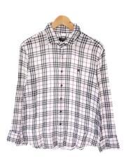 長袖シャツ/3/コットン/ホワイト/チェック
