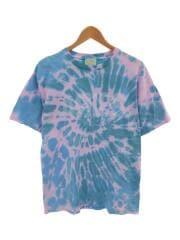 tie-dye t-shirt with logo print/タイダイ/Tシャツ/L/コットン/総柄