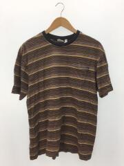 Tシャツ/L/コットン/マルチカラー/ストライプ