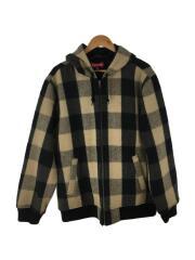15AW/Hooded Wool Bomber/ブルゾン/XL/ウール/BEG/チェック