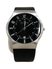 233XXLSLB/クォーツ腕時計/アナログ/レザー/BLK/BLK/箱付