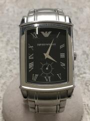 スクエア/ロゴ/AR-0245/ローマ数字/クォーツ腕時計/アナログ/ステンレス/BLK/SLV