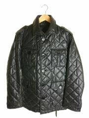 ハーフコート/L/ポリエステル/BLK/キルティングコート/ベルト付/黒/袖先裏チェック