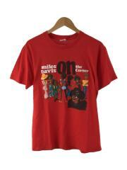 Tシャツ/M/コットン/RED/プリント/Miles davis