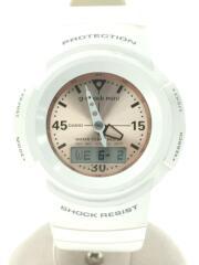 クォーツ腕時計/デジアナ/ラバー/WHT