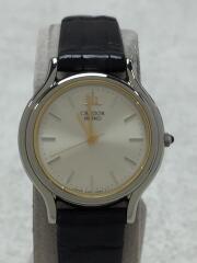 CREDOR/記念品(裏蓋刻印有)クォーツ腕時計/アナログ/SLV/BLK/4J81-0A40