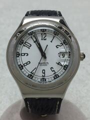 クォーツ腕時計/アナログ/レザー/WHT/BLK/スウォッチ