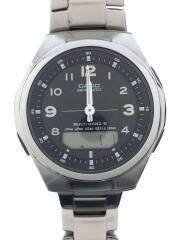 ソーラー腕時計・WAVECEPTOR/デジアナ/ステンレス/SLV