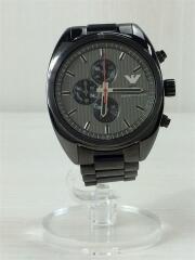 クォーツ腕時計/アナログ/AR-5913/クロノグラフ/デイト/ステンレス/ブラック/黒/リストウォッチ